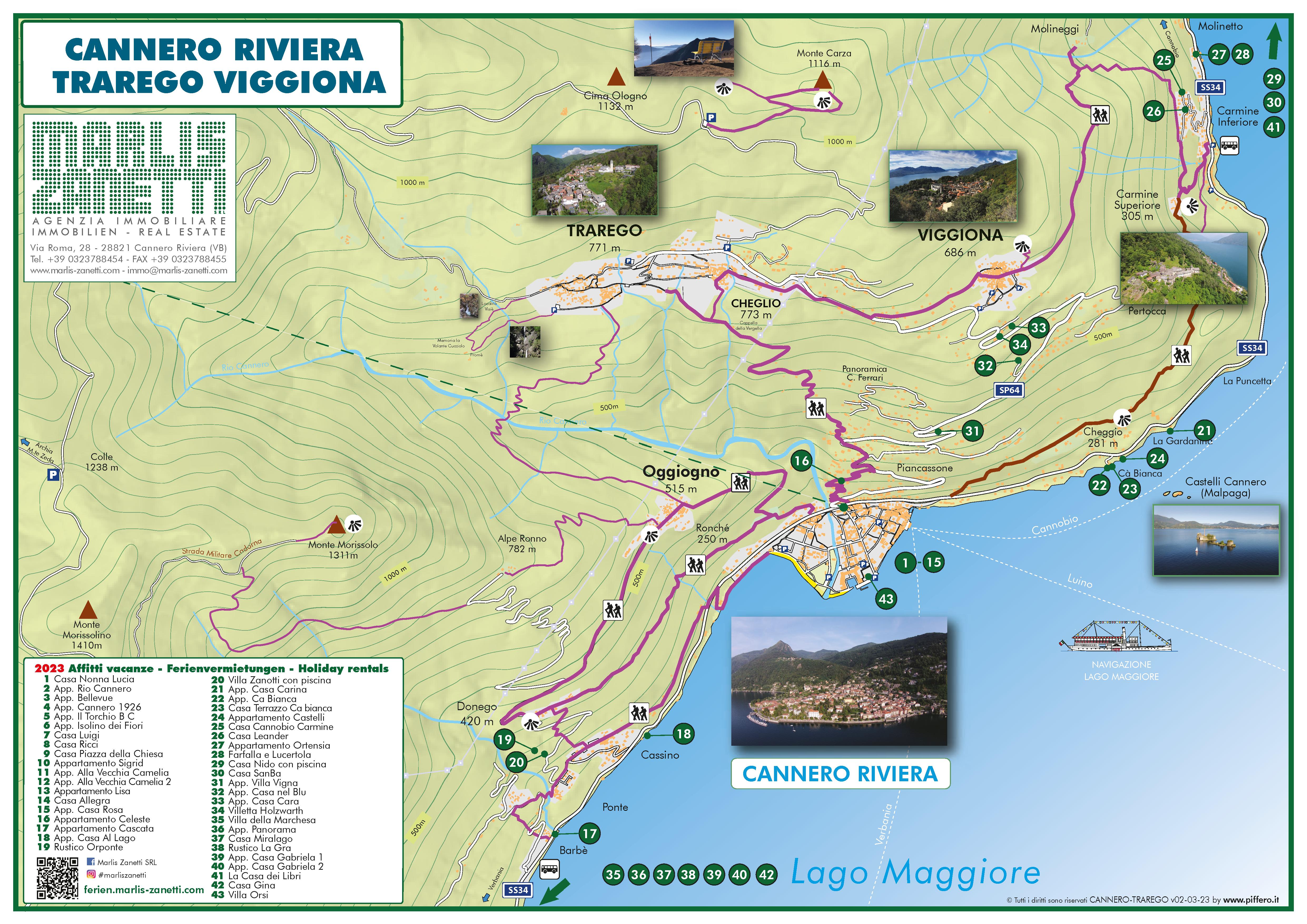 Lageplan Cannero Riviera - Trarego Viggiona Lago Maggiore