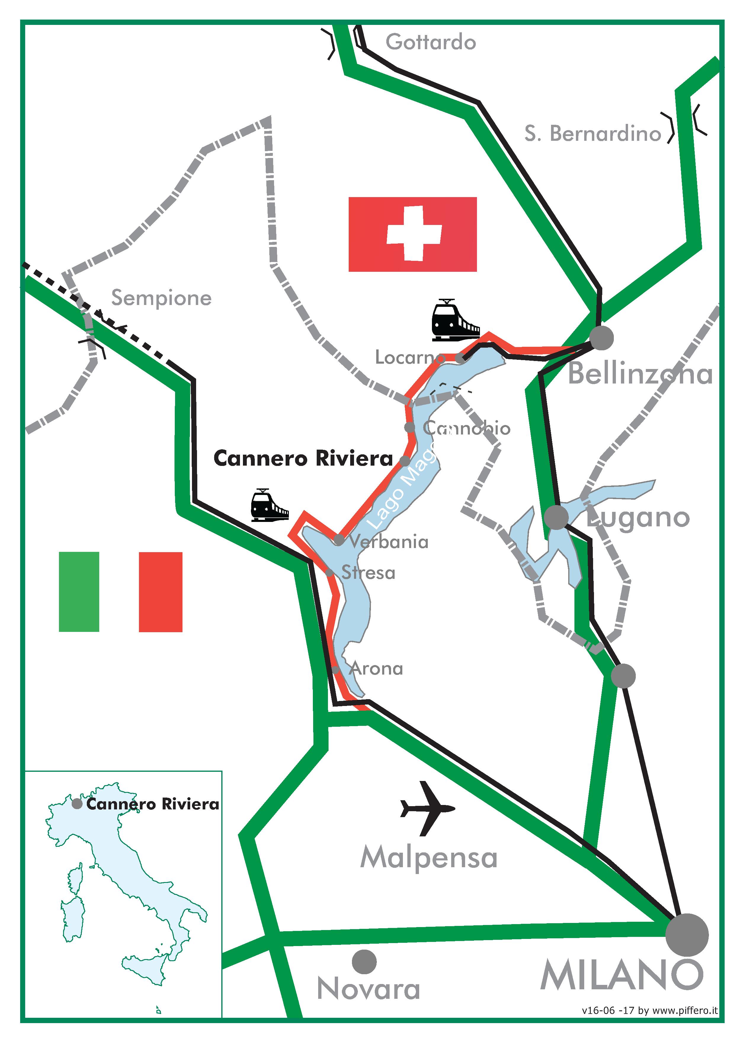 Cartina Lago Maggiore Stilizzata