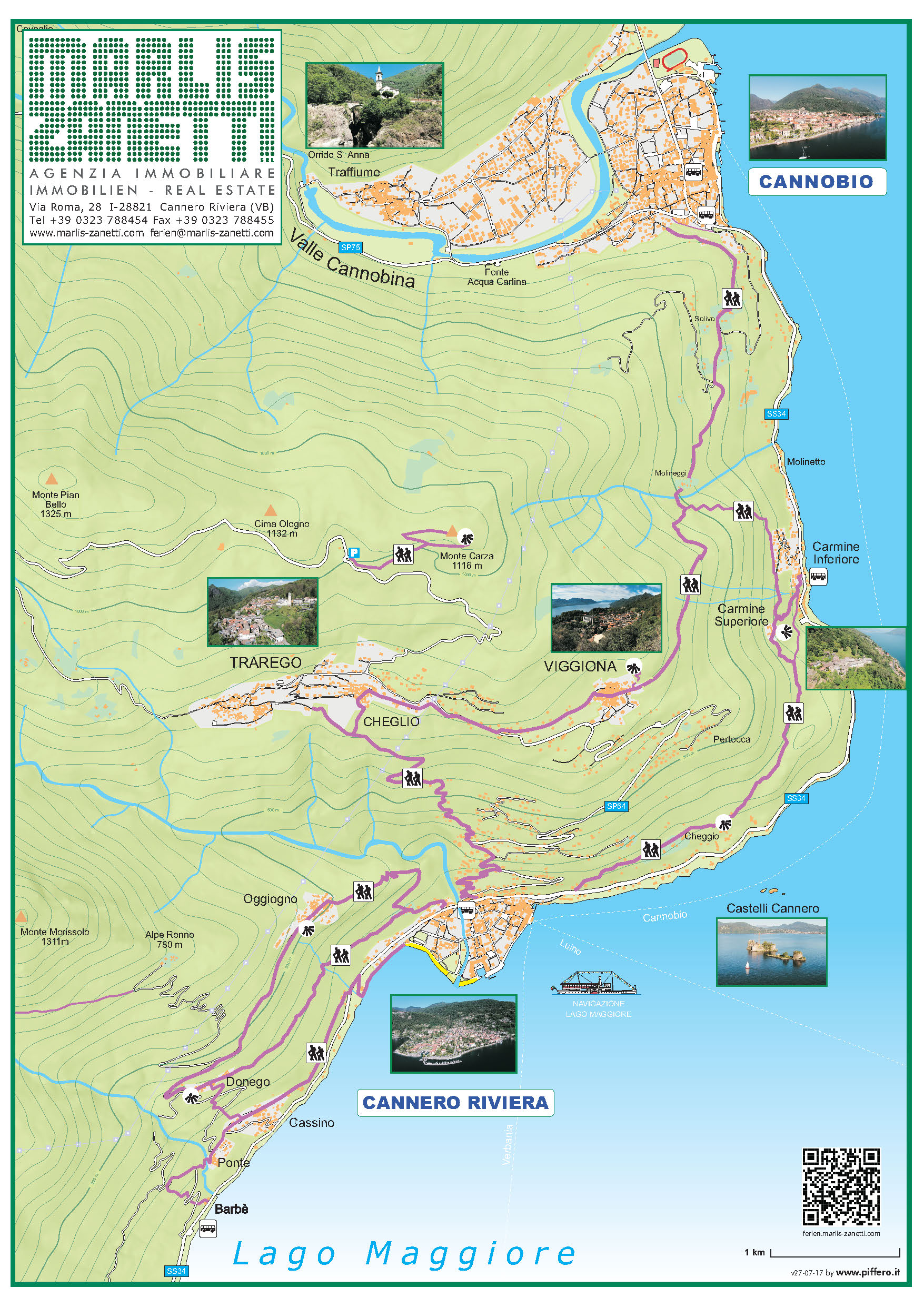 Lageplan trekkinh Cannero Riviera - Cannobio Lago Maggiore