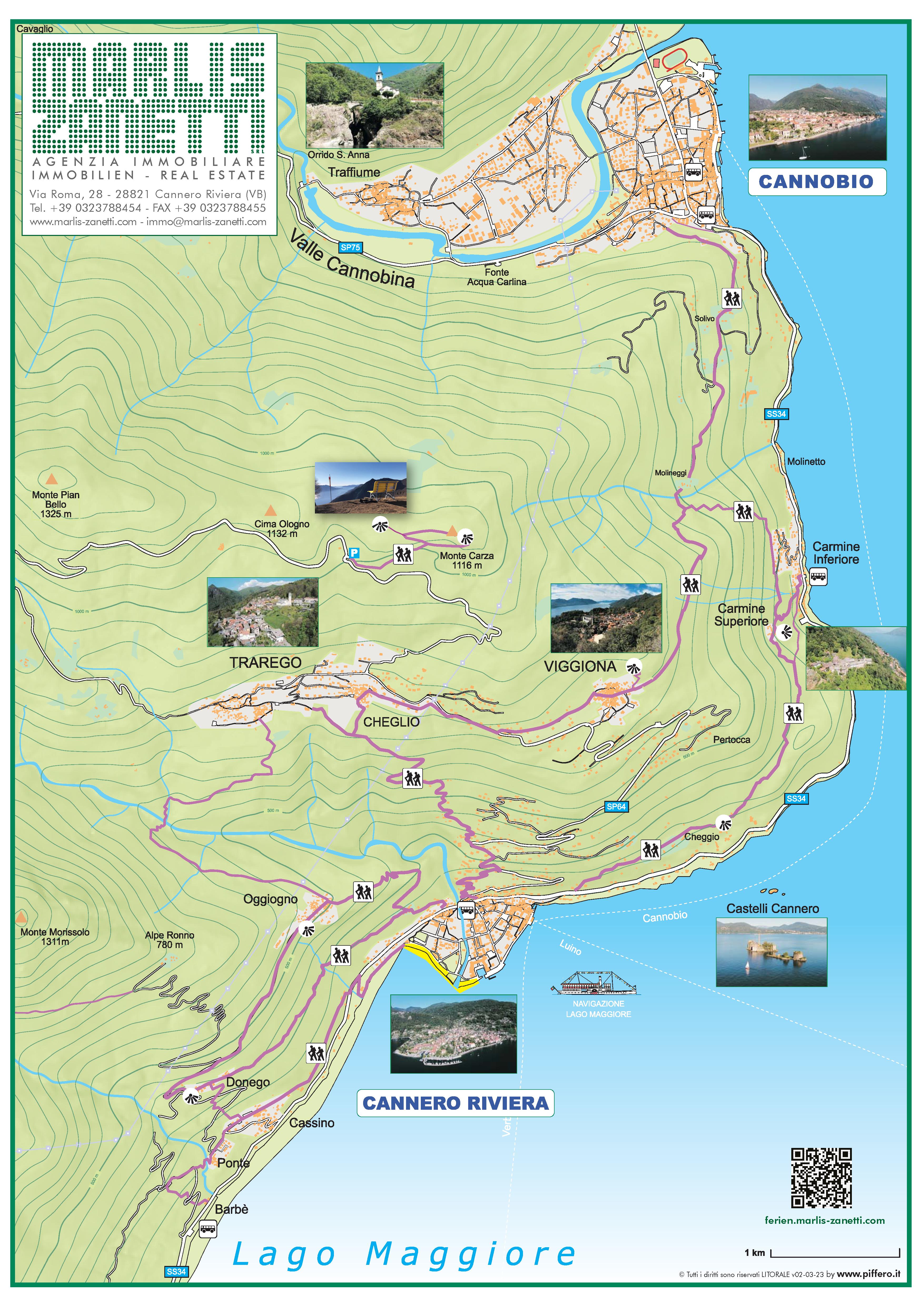 Lageplan Trekking Cannero Riviera  - Lago Maggiore